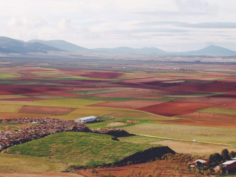 A patchwork of green and brown fields seen on a Spain road trip.