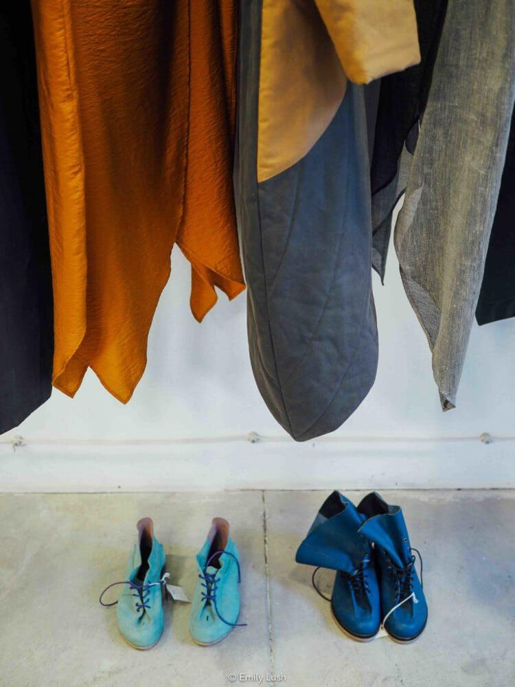 Colourful women's jackets and shoes.