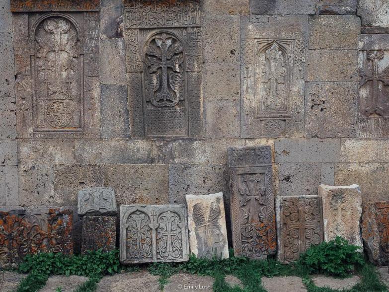 Carved stones at Tatev Monastery in Armenia.
