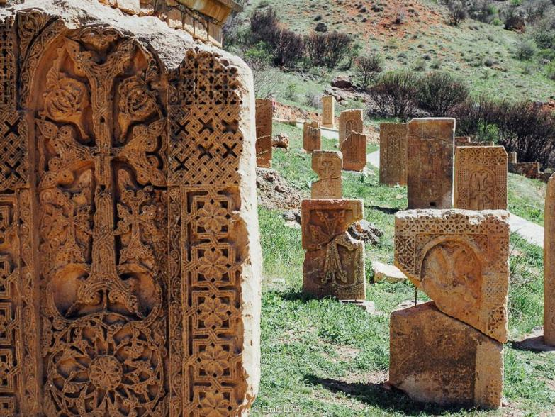 Intricately carved stones.