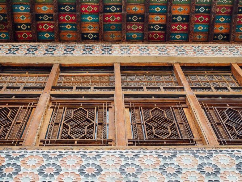 Ornate wooden window frames.