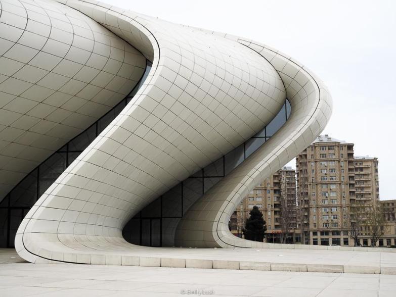 The white curved walls of the Heydar Aliyev Center in Baku, Azerbaijan.
