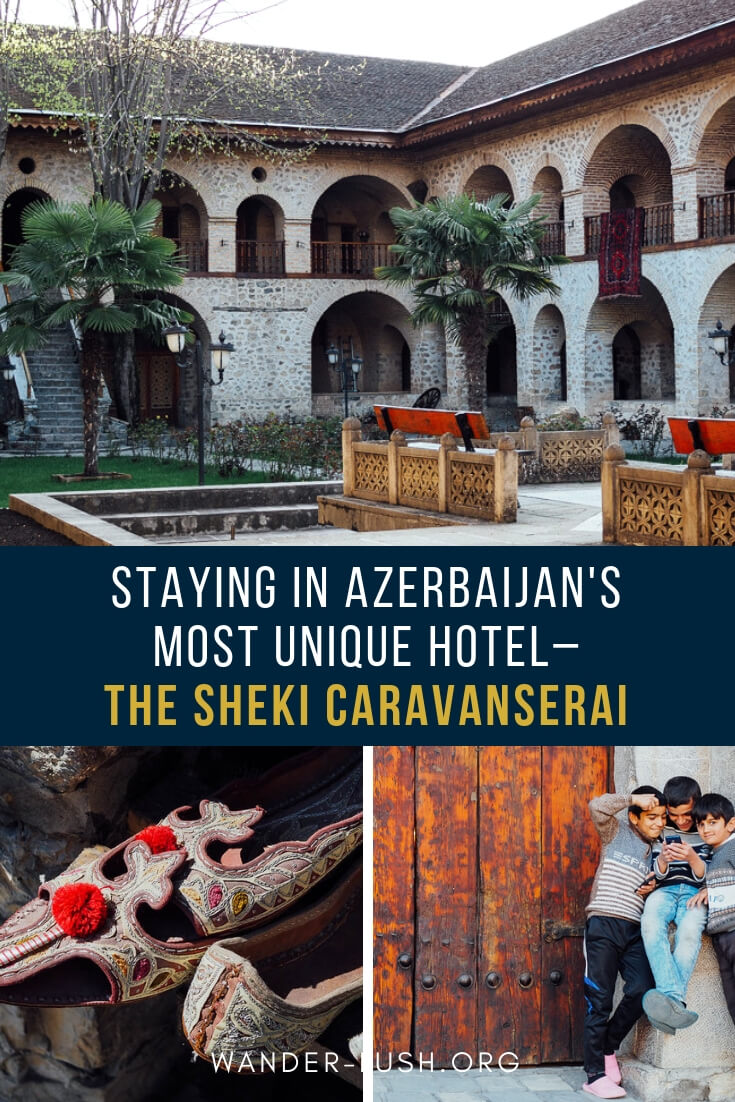 Did you know that in Northern #Azerbaijan,you can sleep inside a Silk Road caravanserai? The Karvansaray Hotel in #Sheki is one of the coolest #accommodations in Azerbaijan! Here's what it's like to sleep inside the stone caravanserai and how you can plan your own stay.