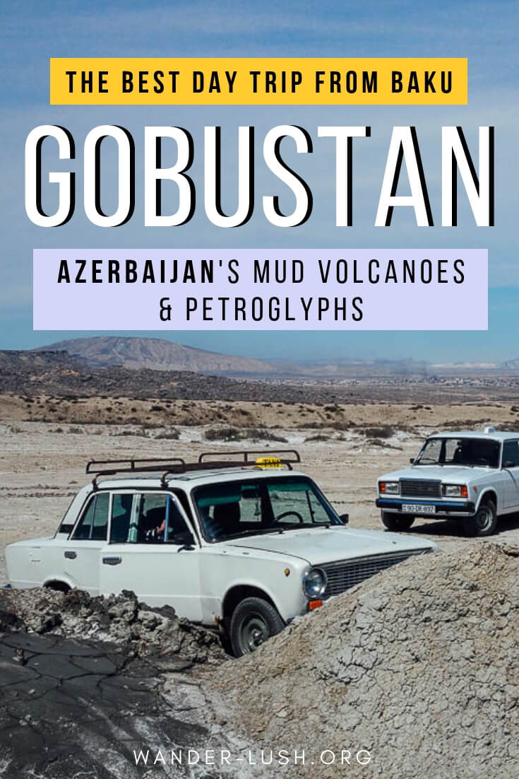 How to travel from Baku to Gobustan to see the mud volcanoes of Azerbaijan and the petroglyphs. A convenient and budget-friendly option for under $35.