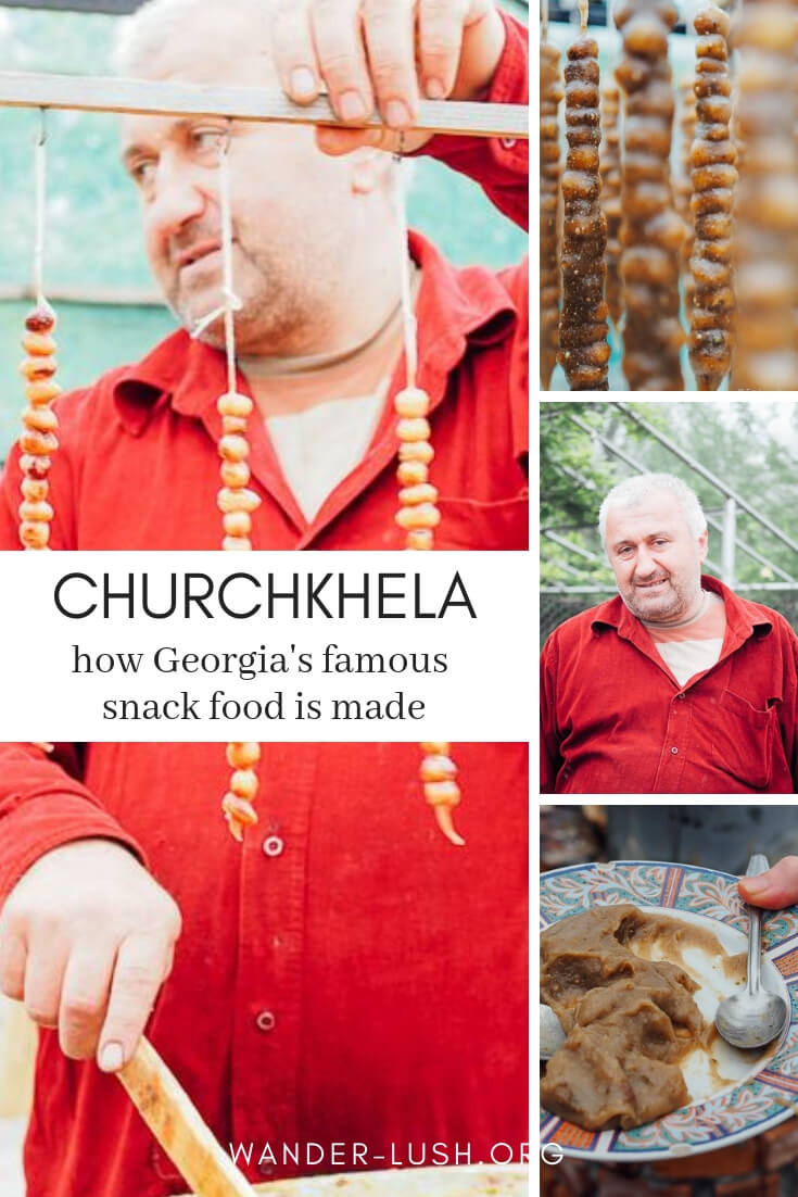 Churchkhela (otherwise known as 'Georgian Snickers') is a popular snack food in the #Caucasus. We were lucky enough to see how this strange-looking-yet-delicious treat is made when we visited a farm outside of #Kutaisi, #Georgia.