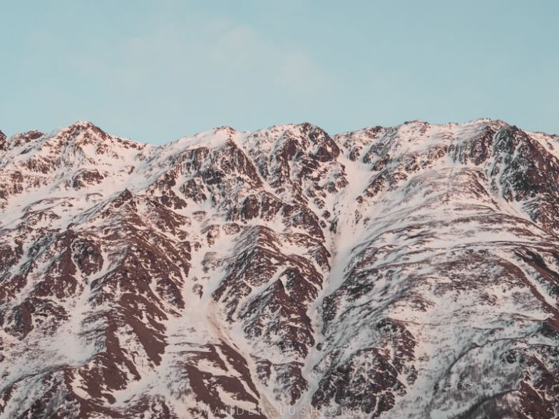 Close up of a snowy mountain range in Georgia.
