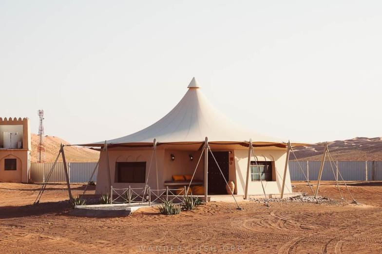 Our accommodation at the 1001 Nights Desert Camp in Oman's Wahiba Sands desert. Photo credit: Copyright Emily Lush | Oman road trip