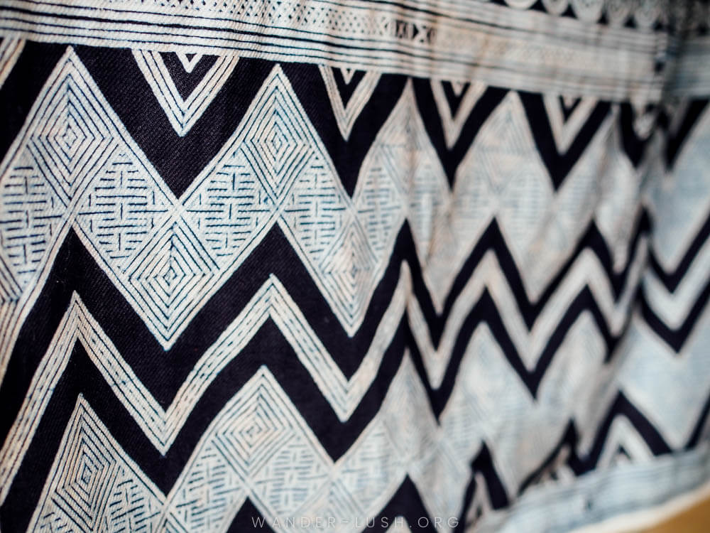 Close up of a white and indigo textile in Vietnam.