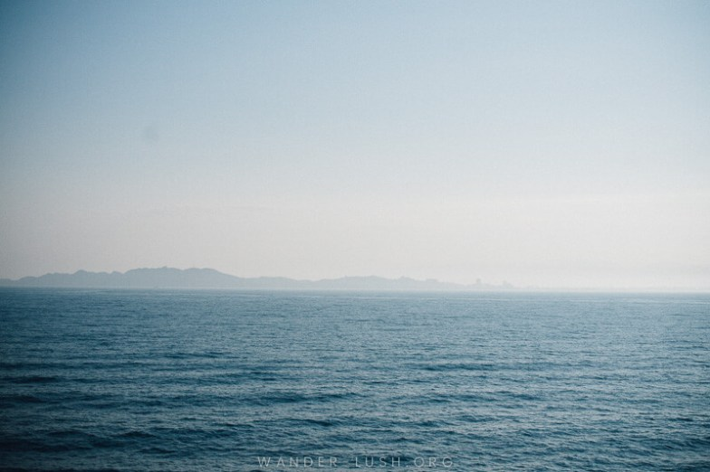 Approaching the Albanian coast on the Bari Durres ferry.