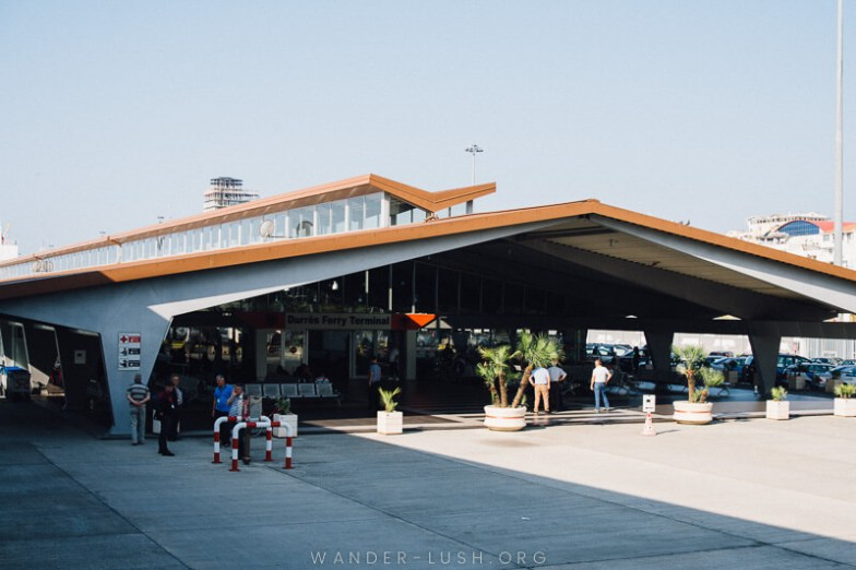 The ferry terminal building in Durres, Albania.