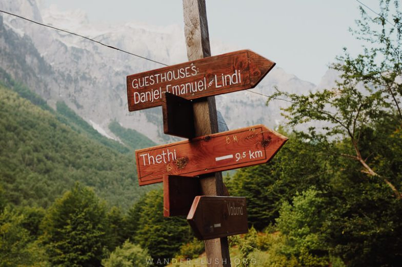 A sign reading 9.5 km to Theth.