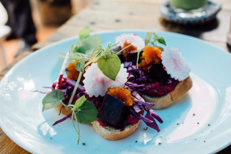 A colourful beetroot and carrot mix on top of slices of bread on a white plate.