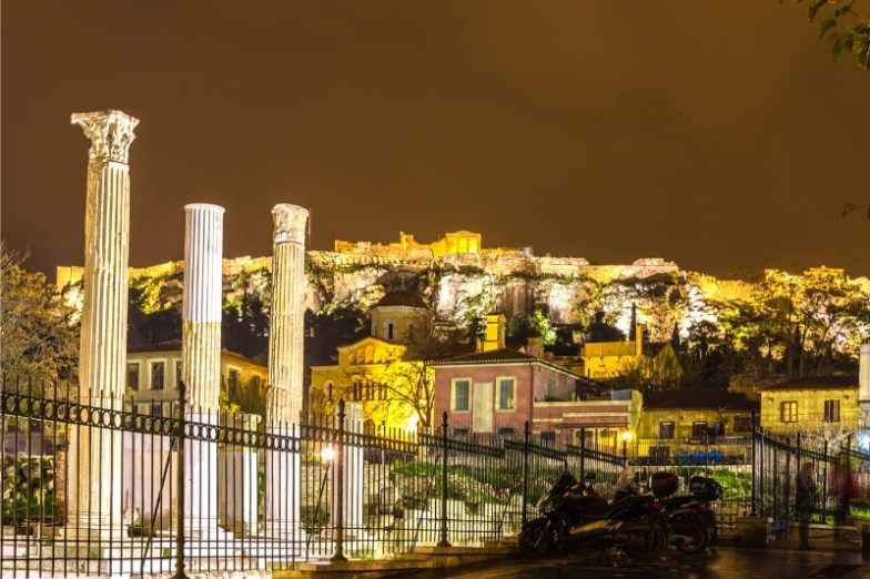 A city lit up at night.