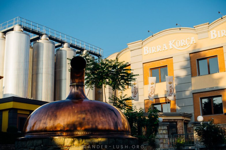 A peach-coloured brewery in Korca, Albania.