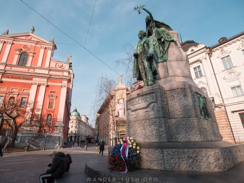 A statue and town square in Ljubljana.