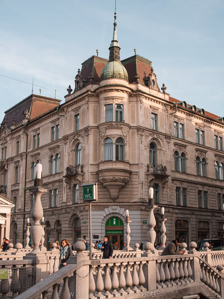 A classical facade in Ljubljana, Slovenia.