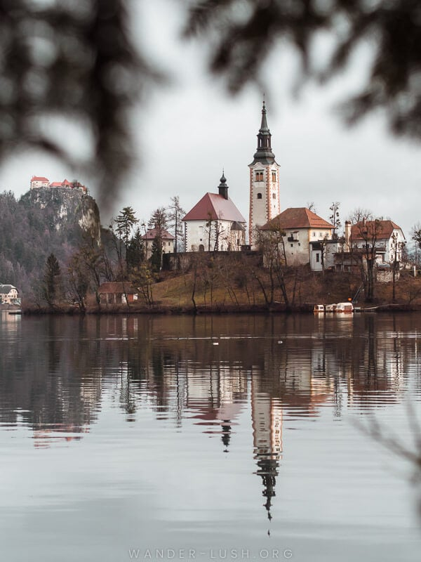 Reflection of a church in a lake.