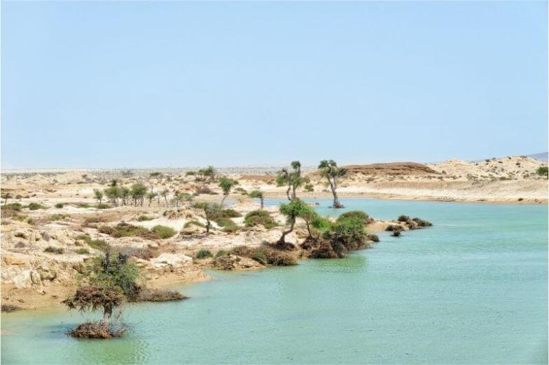 A bright blue lake surrounded by sandy shores and small green shrubs.