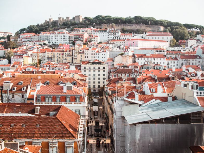Rooftop view of houses and buildings in Lisbon.