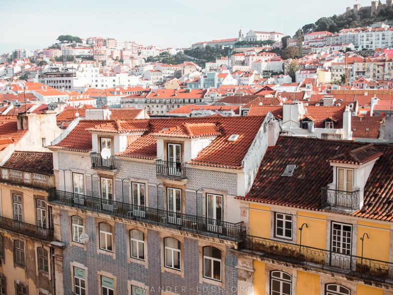 Rooftops of Lisbon viewed from above.
