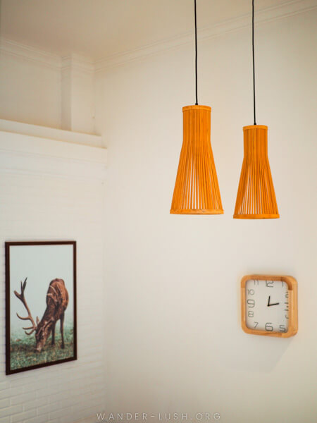 Pendant lights and a framed picture.