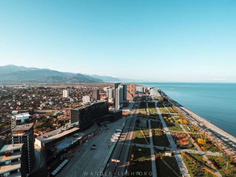 A view of Batumi, Georgia, with the Black Sea on the right and the Caucasus mountains on the left.