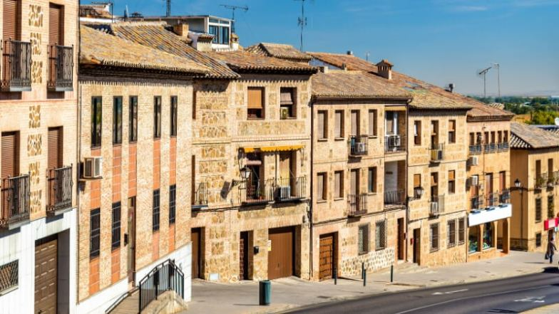 A row of brick houses in Toledo, Spain.