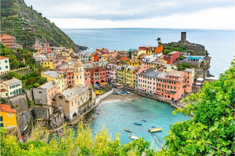 Colourful buildings of Cinque Terre viewed from the hiking trail.