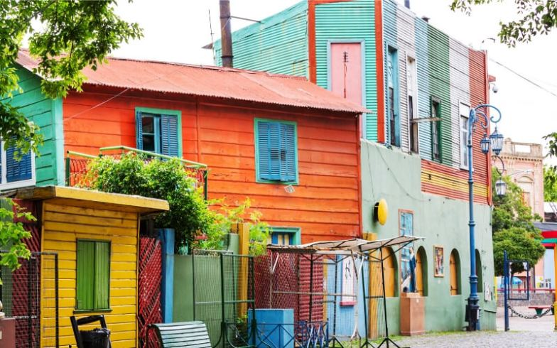 Colourful tin shacks in the neighbourhood of La Boca, Buenos Aires.