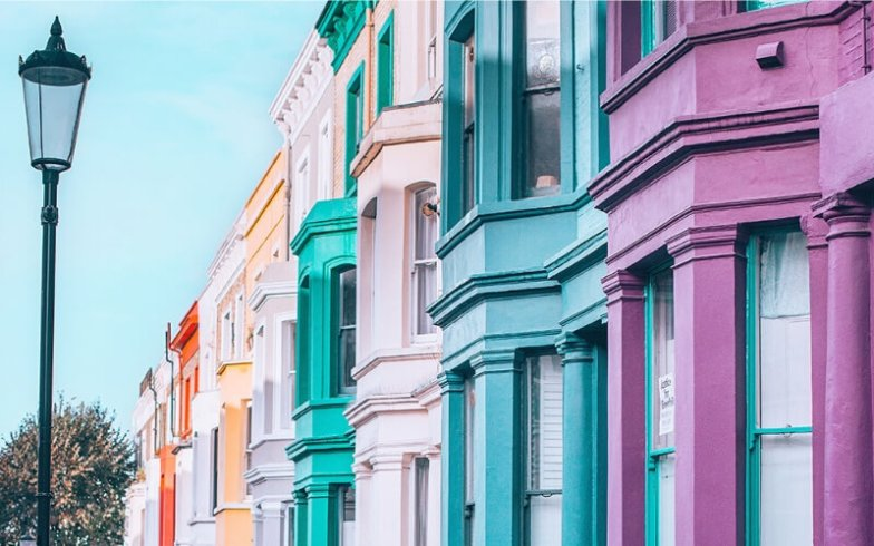 Close up of colourful buildings in Notting Hill.
