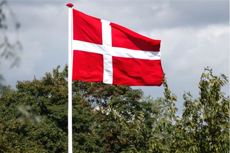 The red-and-white Danish flag flying on a pole above the trees.