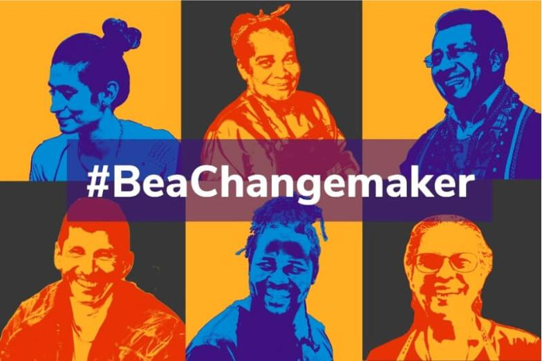 A colourful grid showing people's faces and the hashtag 'Be a Changemaker'.