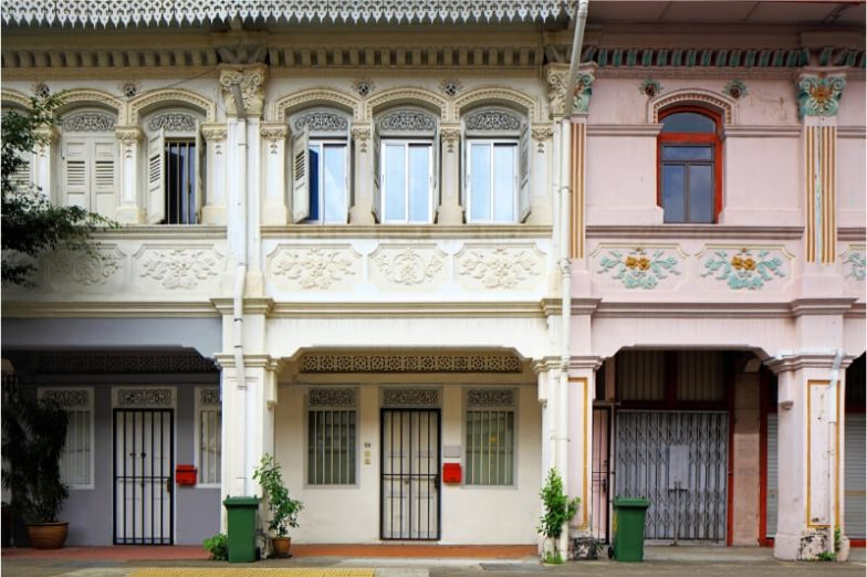 A row of beautiful buildings in Singapore.
