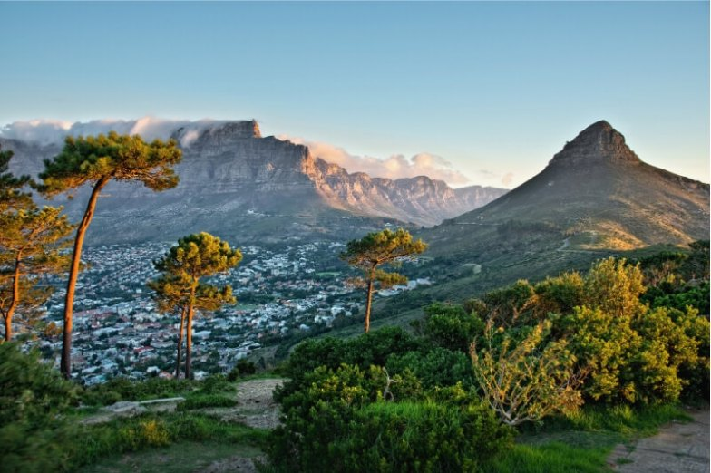A panoramic view of Cape Town and Table Mountain.