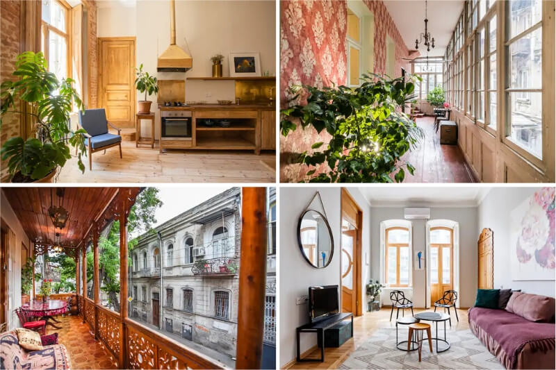 Four Tbilisi Airbnb apartments with beautiful interiors.