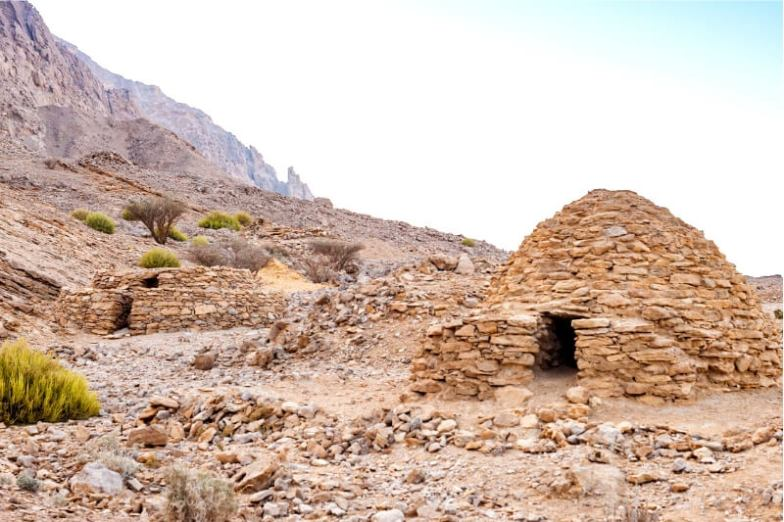The UAE's Beehive Tombs, mounds made of brick in the desert.