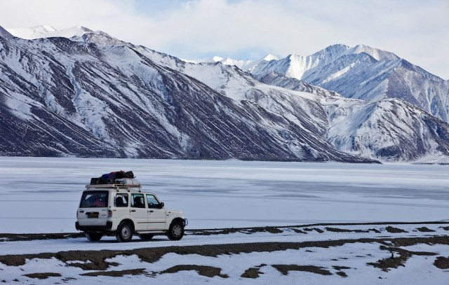 A frozen Pangong Lake in Ladakh in winter months.