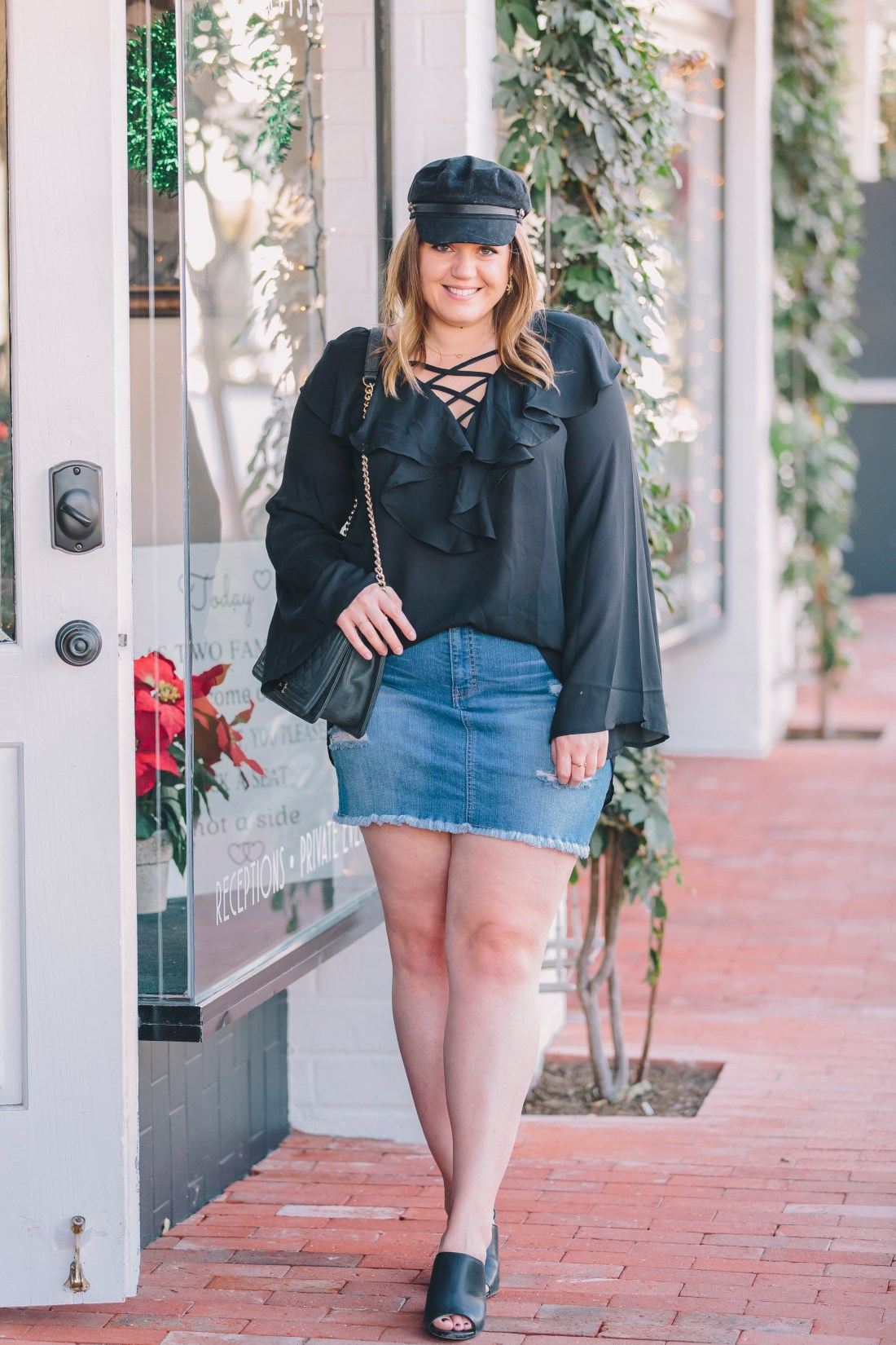 nye outfit, new year's eve outfit, ruffle blouse, show me your mumu, denim skirt outfit, lido marina village, oc style blogger, affordable fashion, affordable style