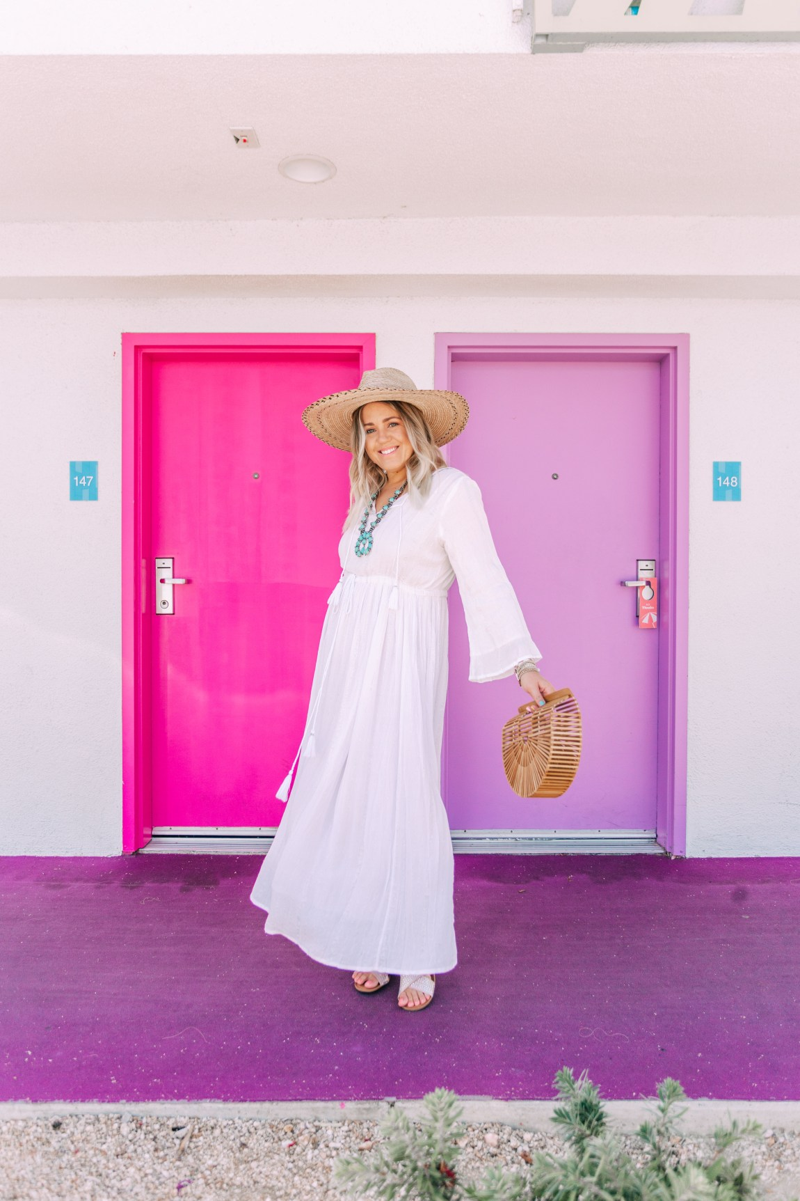 white boho maxi dress in palm springs