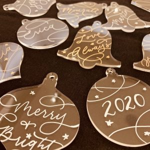 hand written calligraphy ornaments by Rosie Chhun, Orange County calligrapher and engraver