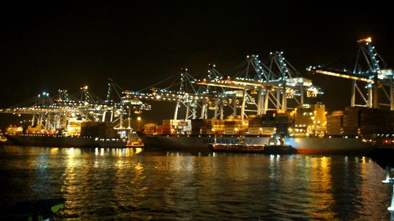 tangier ferry at night