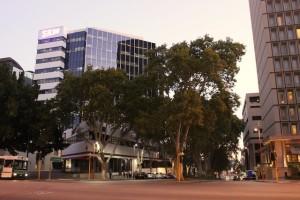 Ein Straßenecke in Perth City