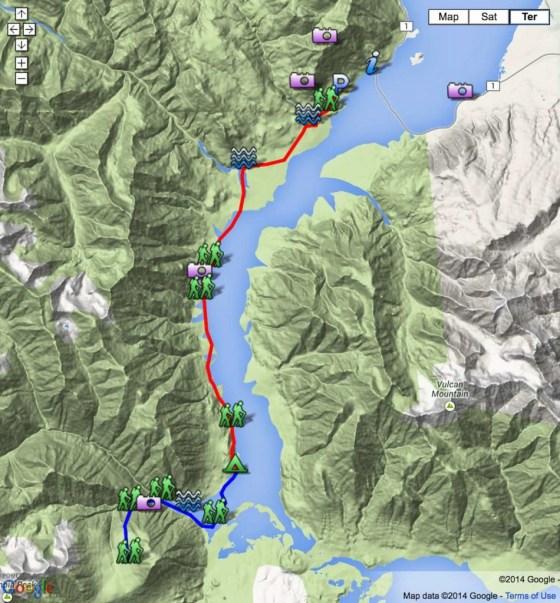 Kaskawulsh Trail. Die Skizze der Wanderung