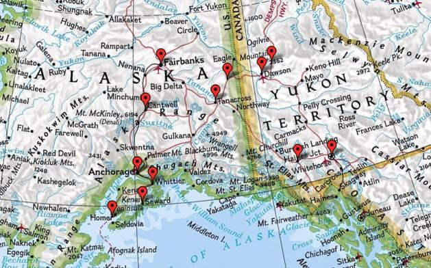 Karte zum Trip nach Alaska