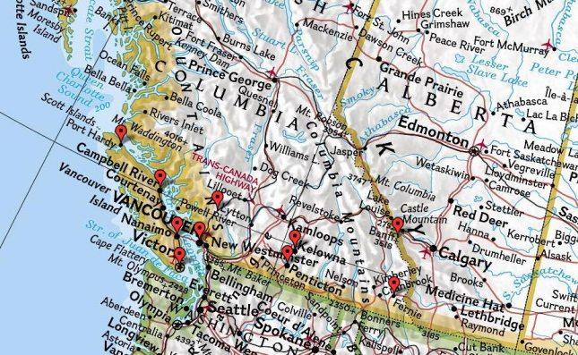 Vancouver » Victoria » Port Hardy » Nanaimo » Whistler » Kelowna » Bannf » Fernie