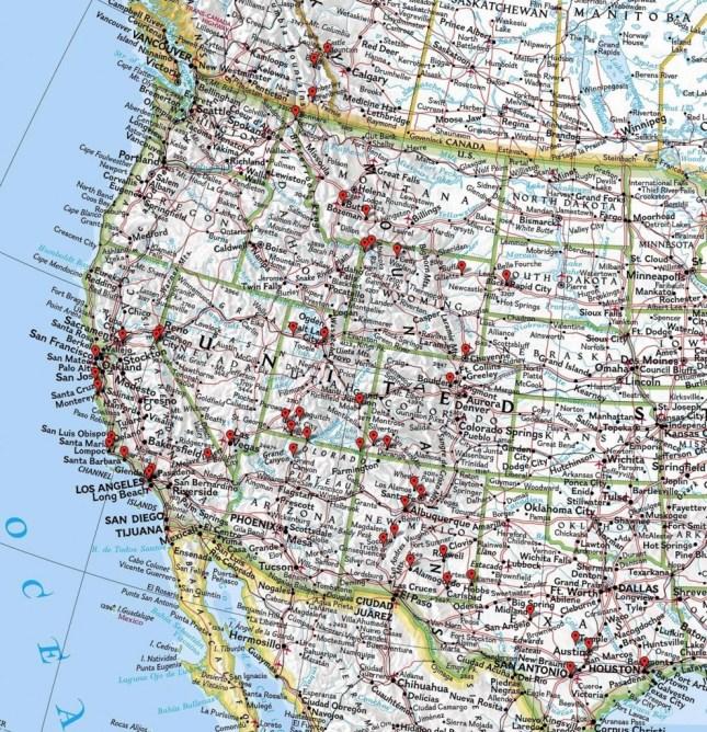 Die grobe Karte des Trips im Westen zeigt ein paar unserer Stops.
