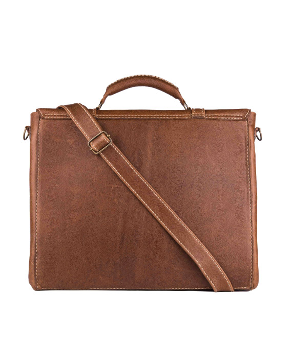 leather laptop bag by Wanderer Handcrafted Leather