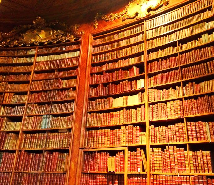 A bookcase full of old books in the Vienna library