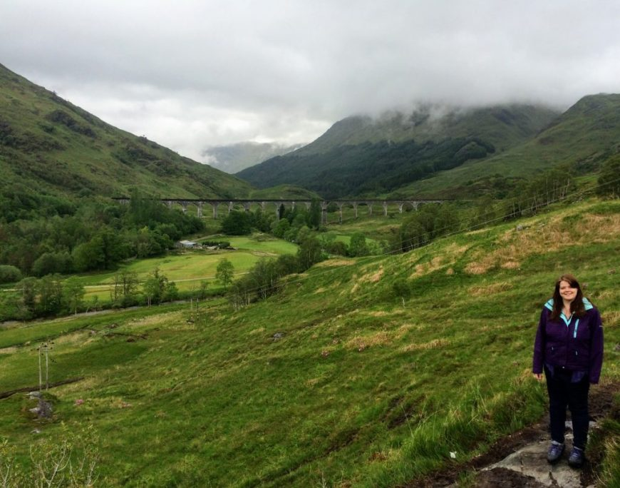 Standing near Glenfinnan Viaduct, Scotland after seeing the Harry Potter train
