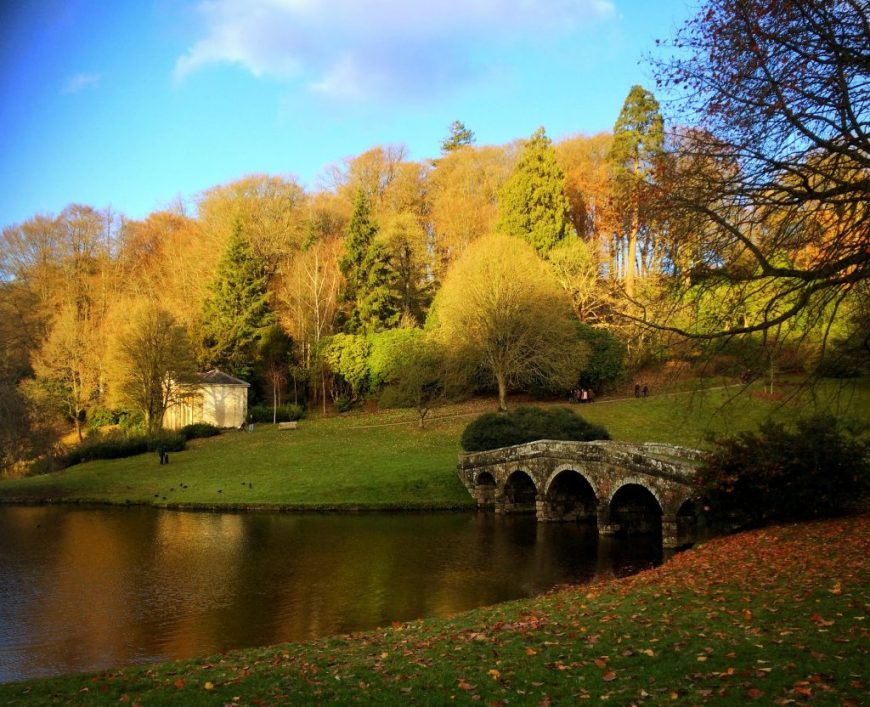National Trust Dog Friendly Places: Dogs are allowed in the garden at Stourhead, Wiltshire on leads at certain times of day. From March to October, they're welcome after 4pm; after 3pm in November; and during the daytime from December to February.